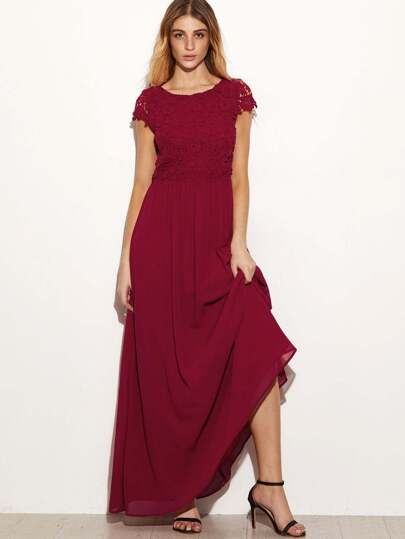 Burgundy Embroidered Lace Overlay Open Back Maxi Dress