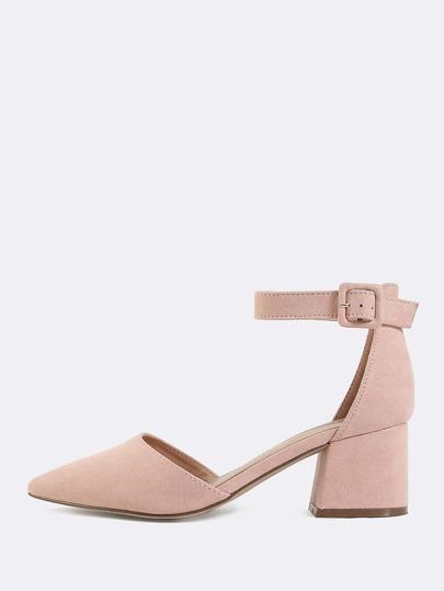 Pastel Pointed Toe Block Heels BLUSH