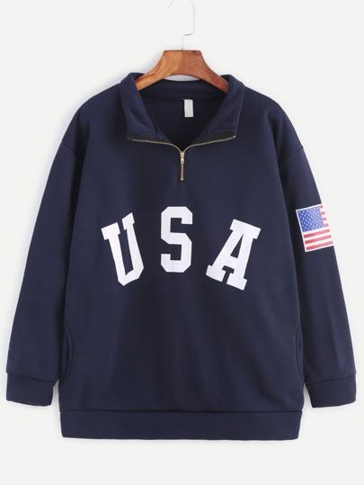 Sudadera con estampado de USA y detalle de cremallera con bolsillo - marino