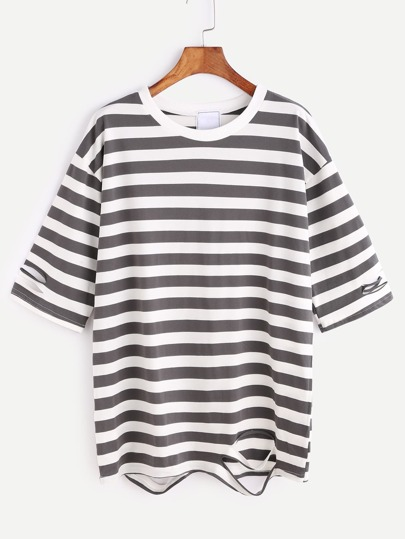 Contrast Striped Drop Shoulder Ripped T-shirt