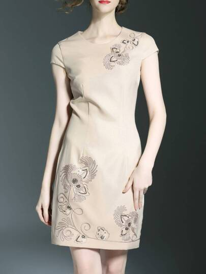 Apricot Flowers Embroidered Sheath Dress