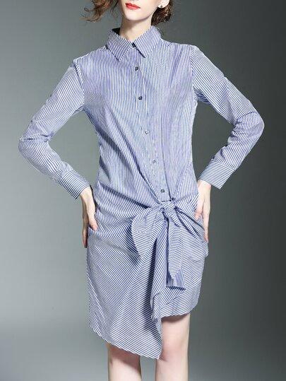 Blue Lapel Striped Bow Shirt Dress