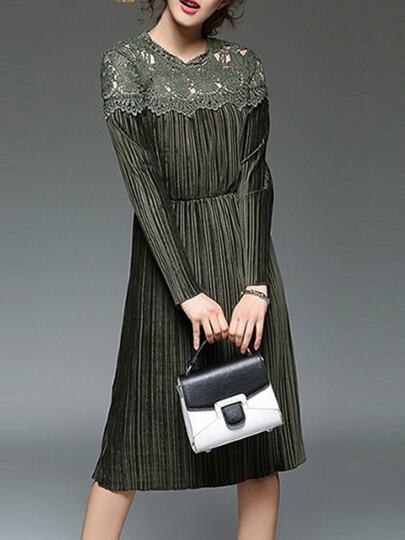 Army Green Contrast Crochet Hollow Out Velvet Dress