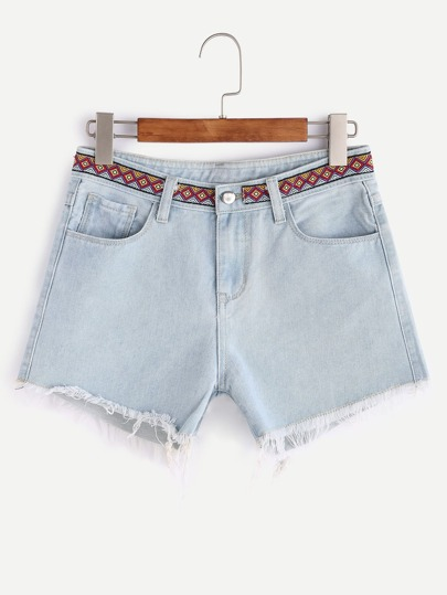 Bleach Wash Embroidered Tape Detail Frayed Denim Shorts