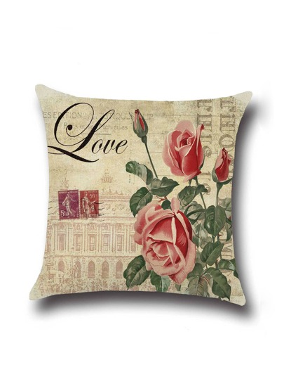 Beige Rose Print Linen Cushion Cover