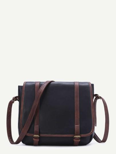 Black Contrast Trim PU Shoulder Bag