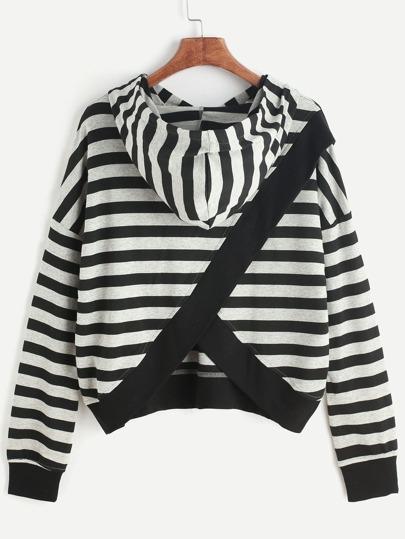 Black And Grey Striped Split Back Hoodie