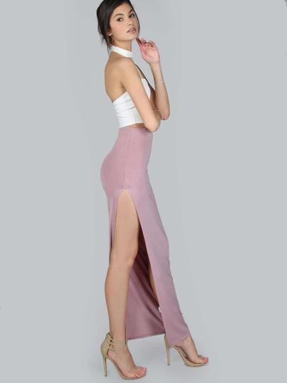 Side Slit Bodycon Maxi Skirt MAUVE