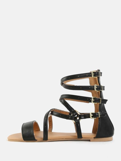 Gladiator Faux Leather Sandals BLACK