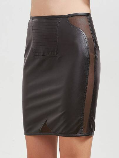 Mesh Insert Faux Leather Skirt