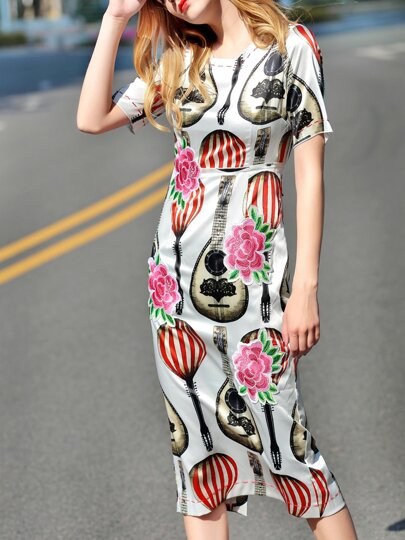 White Flowers Embroidered Print Dress