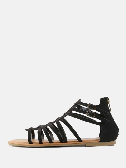 Open Toe Gladiator Sandals BLACK