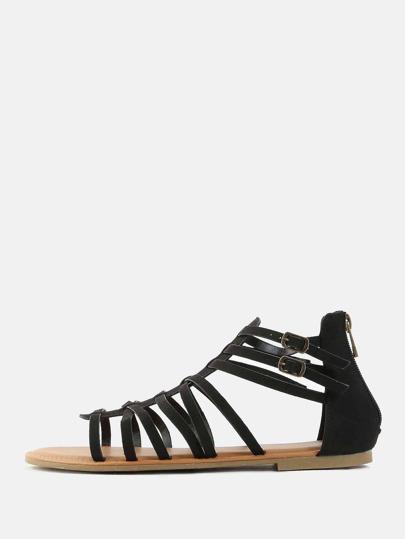 Open Toe Gladiator Sandals BLACK