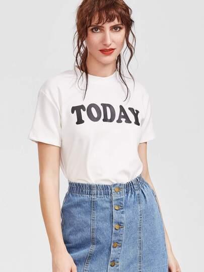 Camiseta con cuello redondo con estampado de letra - blanco