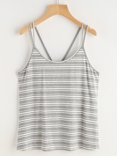 Grey Striped Double Strap Ribbed Knit Cami Top