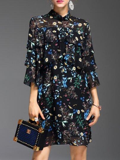 Black Floral Ruffle Shift Dress