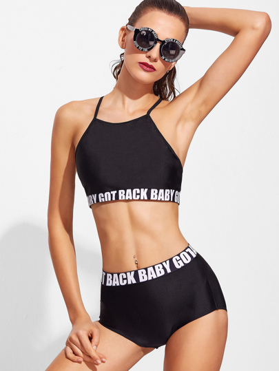 Black Letter Design High Waist Bikini Set