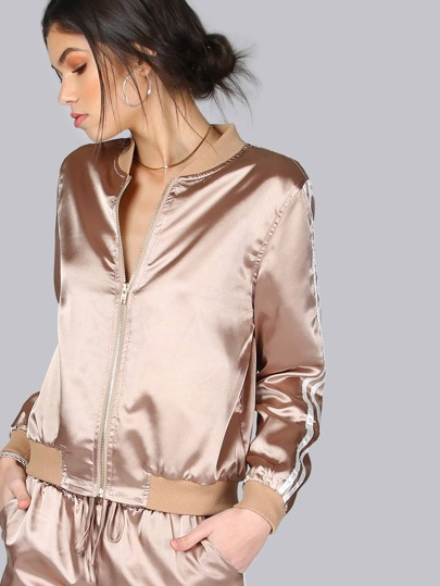 Satin Stripe Bomber Jacket MOCHA GOLD