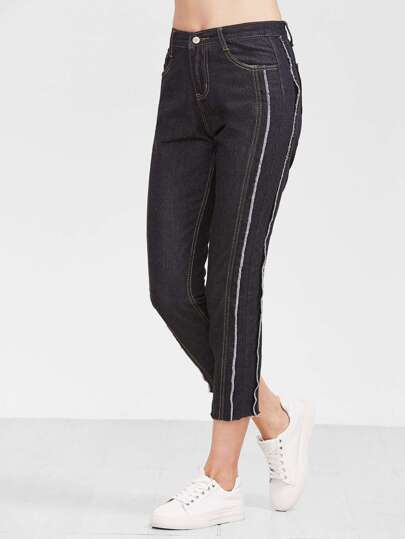 Black Raw Hem Ankle Jeans