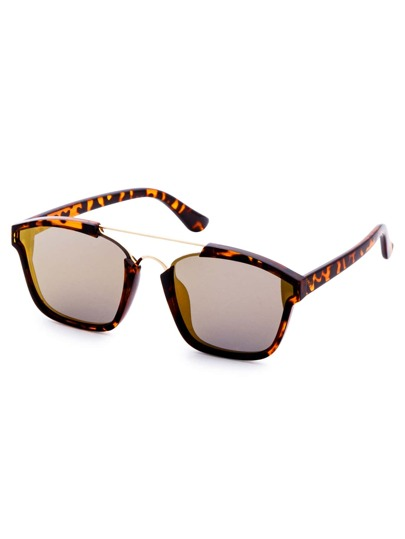 Leopard Frame Double Bridge Sunglasses