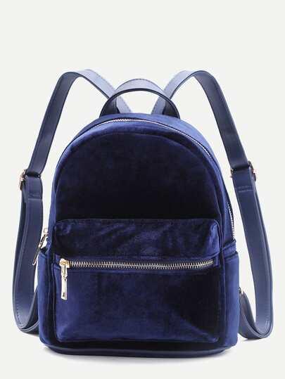 le sac à dos bleu velours avant fermeture