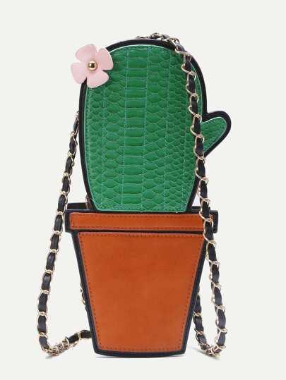 Green Cactus Shape PU Shoulder Bag With Flower