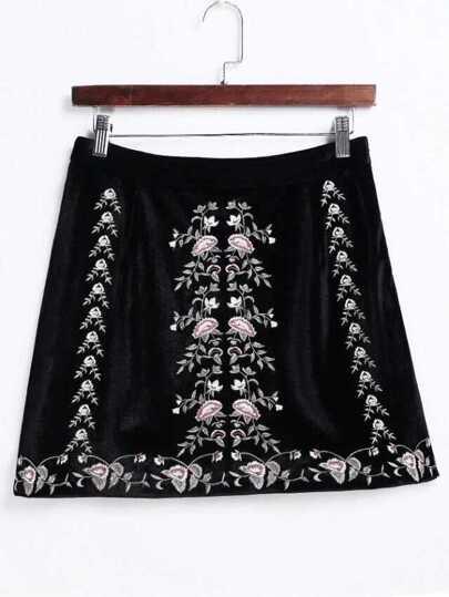 Black Flower Embroidery A Line Velvet Skirt