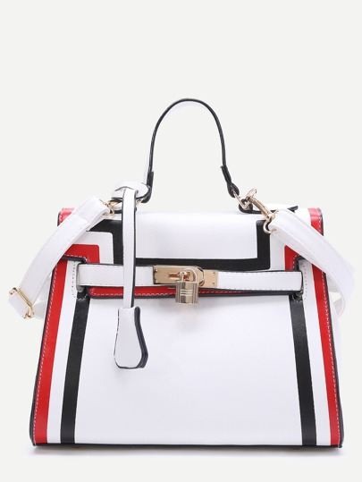 White Striped Trim PU Shoulder Bag