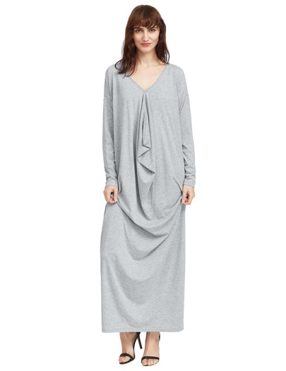 Pale Grey Drop Shoulder Draped Cocoon Dress