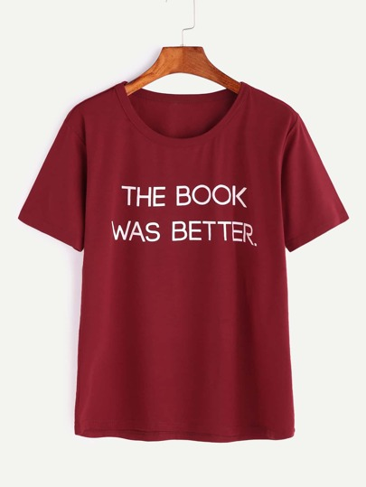 Burgundy Slogan Print Short Sleeve T-shirt