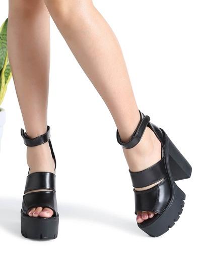 Sandalias de tacón grueso con plataforma - negro
