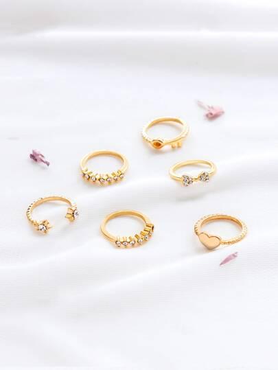Gold-Strass Detail Empfindliche Ring Set