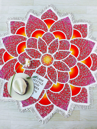 Red Lotus Flower Shape Fringe Trim Beach Blanket