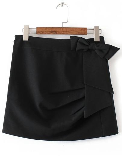 Falda con adornos de lazo línea A - negro