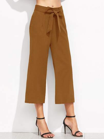Brown Self Cravate Pantalon large