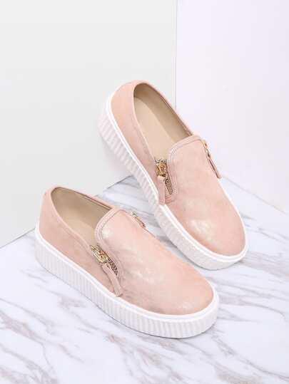 Zapatos planos de suela de goma con cremallera lateral-rosa