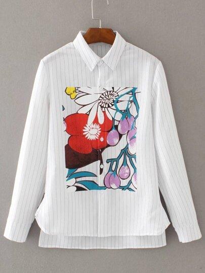 Bianco a strisce verticale stampato Alto Basso camicetta
