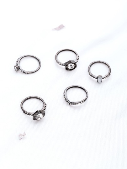 Rhinestone Design Punk Ring Set