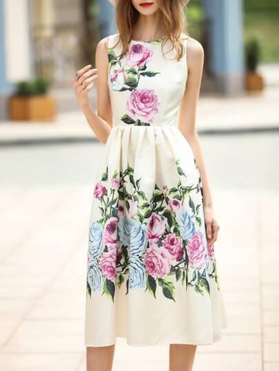 Vestido línea A estampado de flores-beige
