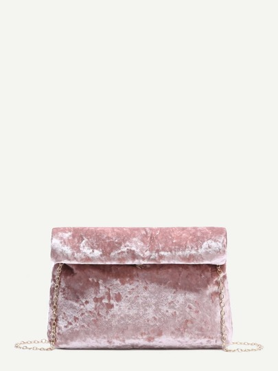 Pink Foldover Velvet Clutch Bag With Chain