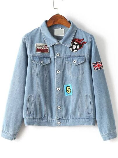 Light Blue Patch Embroidery Denim Jacket