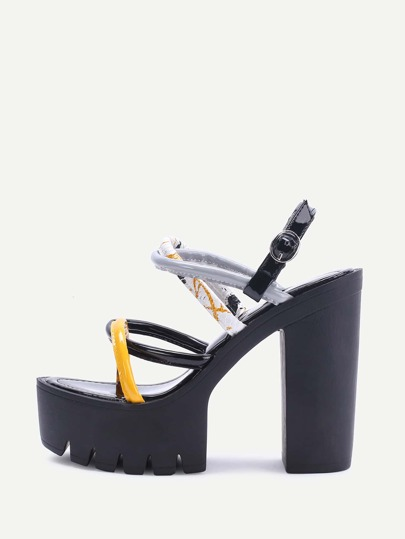 Black Strappy PU Platform Sandals