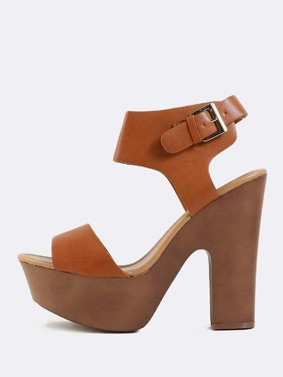 Platform Open Toe Chunky Heels TAN