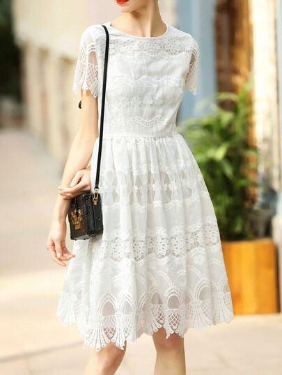 White Crochet Hollow Out A-Line Dress