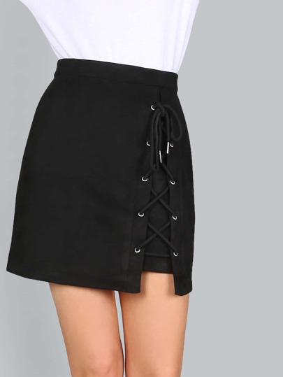 Faux Suede Lace Up Skirt BLACK