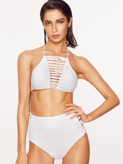 White Ladder Cutout High Waist Halter Bikini Set
