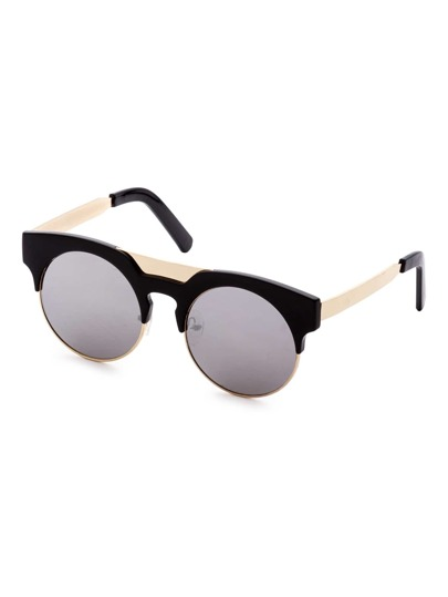 Gafas de sol redondas con marco negro y dorado
