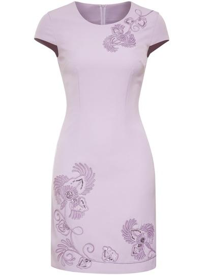 Purple Flowers Embroidered Sheath Dress