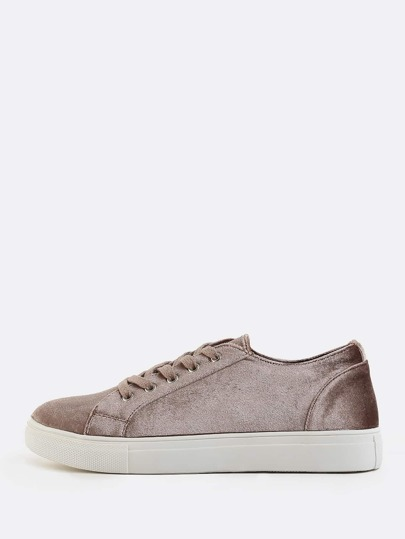 Round Toe Smooth Velvet Sneakers TAUPE