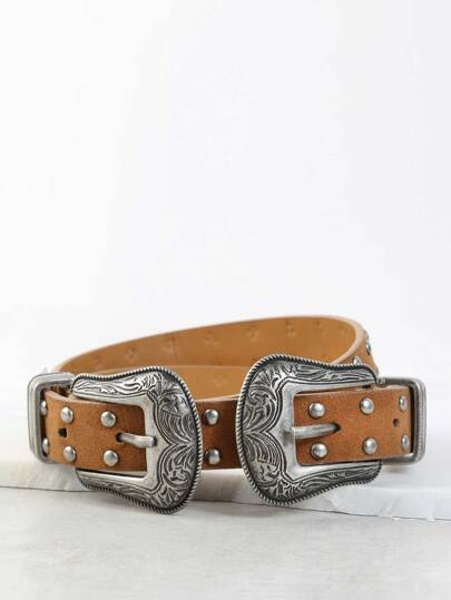 Double Buckle Studded Belt BROWN
